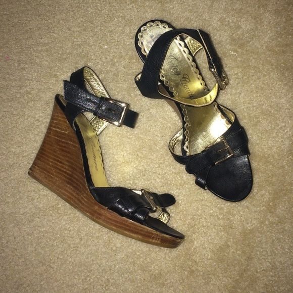 Juicy Couture wedges on sale! Worn on the wedge part however on the inside, outside and bottom they are in great condition. Black, casual and super cute for any outfit!! Juicy Couture Shoes Wedges
