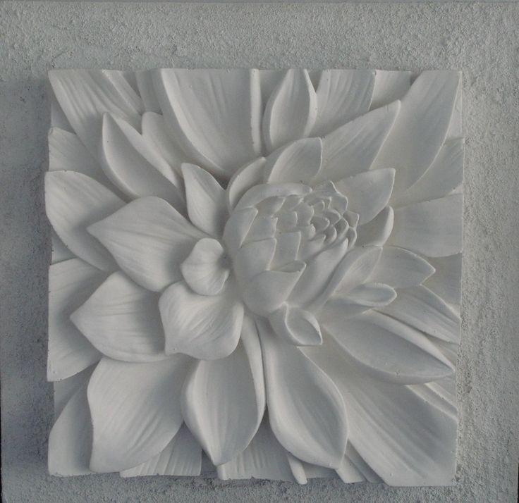 Plaster on Canvas 3D Art with textured background.Lotus flower white Australian made www.bellaartista.com.au