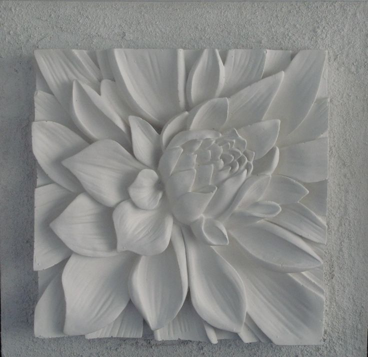 3D sculptural art with textured background. Lotus flower white,Australian made.