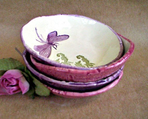 Ceramic Prep Bowls Set of  FOUR Dragonfly style by dgordon on Etsy, $40.00