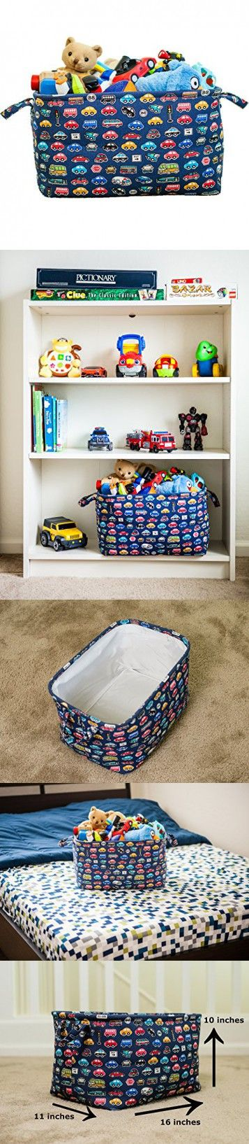 Toy Chest Storage Basket for Kids, Nursery Storage Bin for Baby, Closet and Laundry Organizer and Gift Basket (Blue Car)
