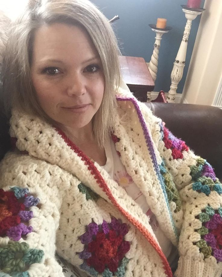 Staying cozy and warm on a chilly Sunday with my granny square jacket. by corrinaricke