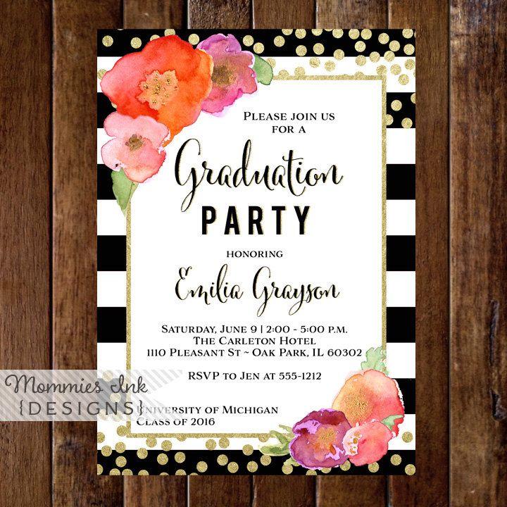 Graduation Party Invitation Watercolor Floral Black u0026