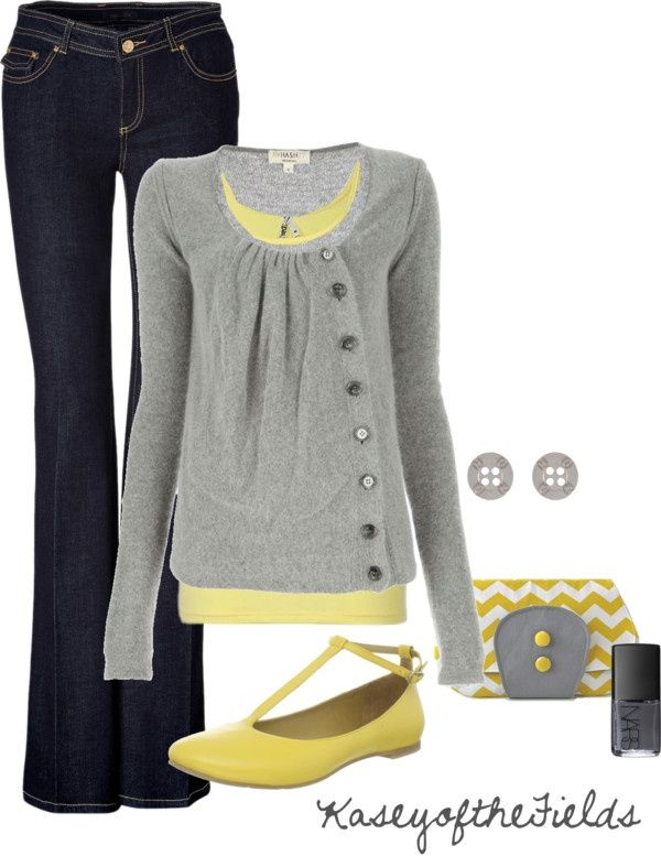 Adorable cardigan! Love the yellow with grey.