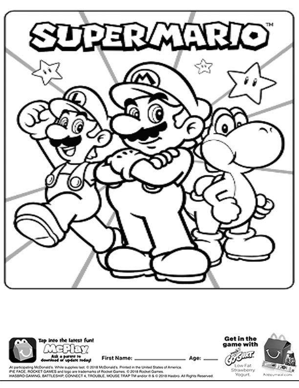 Super Mario Coloring Pages Mcdonalds Happy Meal Coloring Page And Activities Sheet Super Mario Coloring Pages Mario Coloring Pages Puppy Coloring Pages
