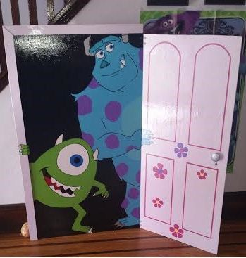 This custom Monsters Inc door is perfect for party decor and fun party pictures. Made by my sister. Can be found here: Etsy listing at https://www.etsy.com/listing/241939406/custom-made-life-size-birthday-sign-with