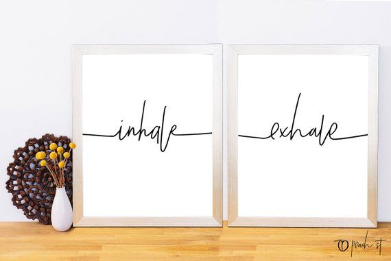Inhale Exhale, Typography Print, Lettering, Printable Quote, Black and White Wall Art, Yoga, Meditation, Yoga Studio Decor, Digital Download