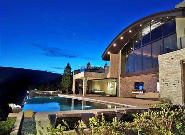 Backyard w/ Infinity pool - Carlos Santana home