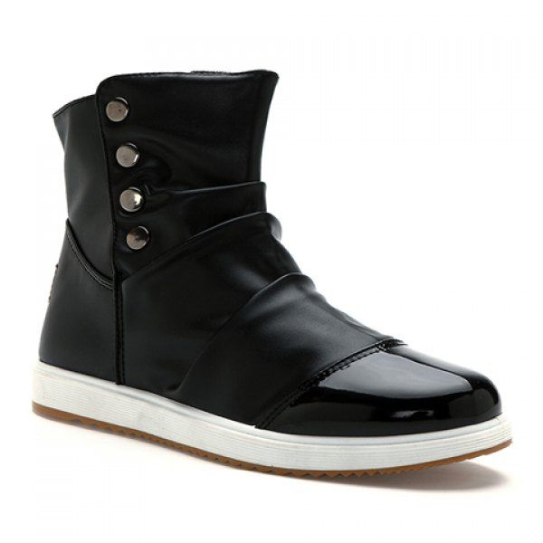 Trendy Rivets and Ruffle Design Boots For Men, BLACK, 44 in Men's Shoes | DressLily.com