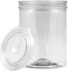 1/2 PINT CLEAR ALL PLASTIC CAN WITH LID | The clear all-plastic cans have a PET body and cover that are dent and rust resistant. Not for food storage. #all #plastic #paint #can #clear