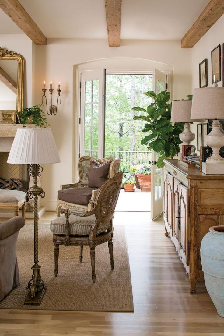 groß  60 Fancy French Country Living Room Decor Ideas