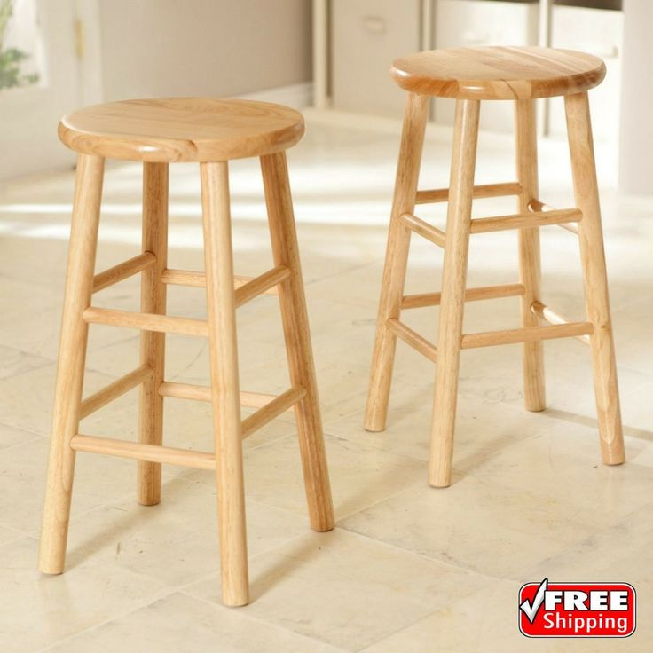 Set of 2 Wood Counter Stools Bar Stools Dining Kitchen Round Seat Chair 24-Inch #Unbranded
