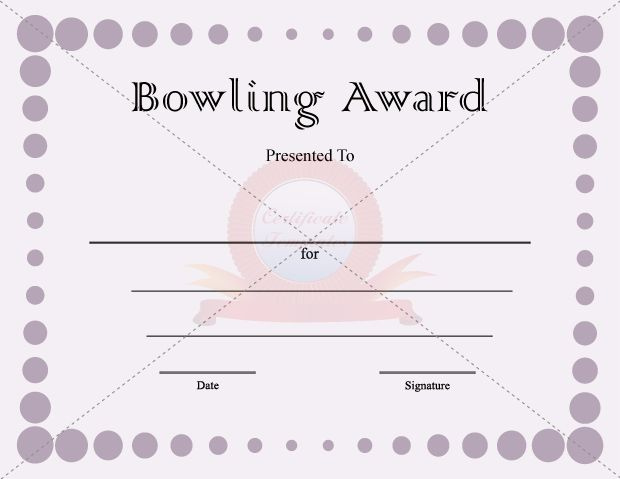 7 best BOWLING AWARD TEMPLATES images on Pinterest Award - birth certificate template printable