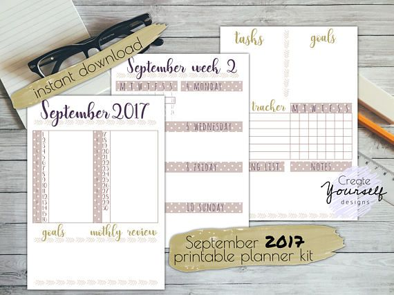 September 2017 printable planner printable bullet journal