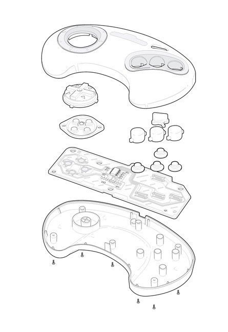 Sega Genesis Controller Technical Illustration