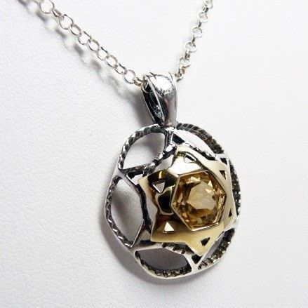 Gold and silver shield of David Pendant with Smoky Topaz stone