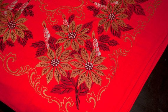 """Red Poinsetta and Candle Pattern Cotton Table Cloth 48"""" x 62"""" - Vintage red, gold, and silver Christmas themed cotton table cloth. Very good vintage condition. 48"""" x 62"""". Thank you for viewing!"""