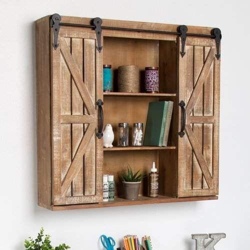 """Laurel Foundry Modern Farmhouse Walhalla Rustic Wood Storage 30"""" W x 27.25"""" H Wall Mounted Cabinet #wallmountedbathroomfurnitureideas"""
