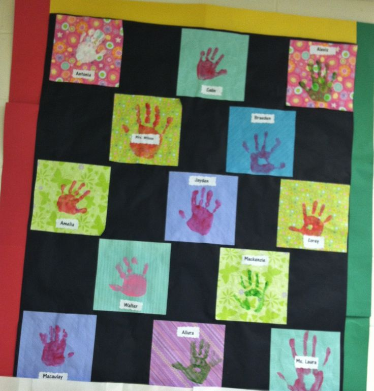 Preschool Letter Q Week: We made a friendship quilt from scrap paper and hand prints.