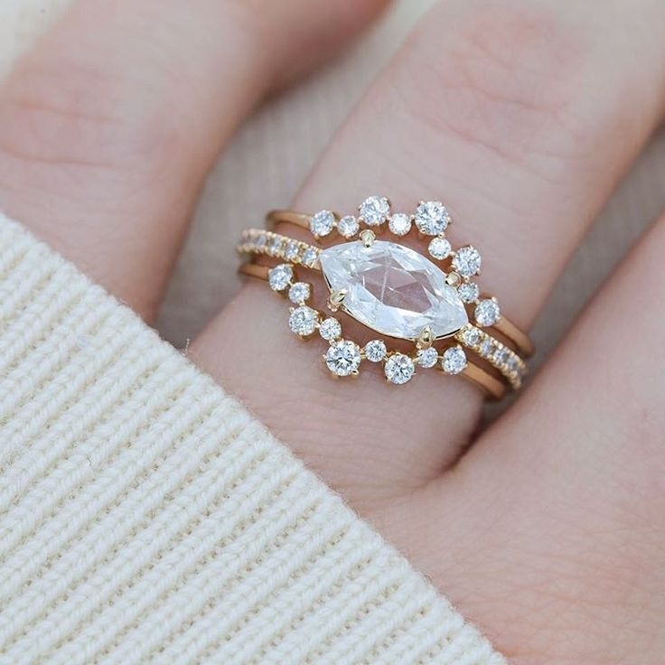 "1,219 Likes, 9 Comments - EVERETT (@everettnyc) on Instagram: ""Bundle up on this snowy New York day with our East-West Marquise Diamond Flurry Ring . . .…"""