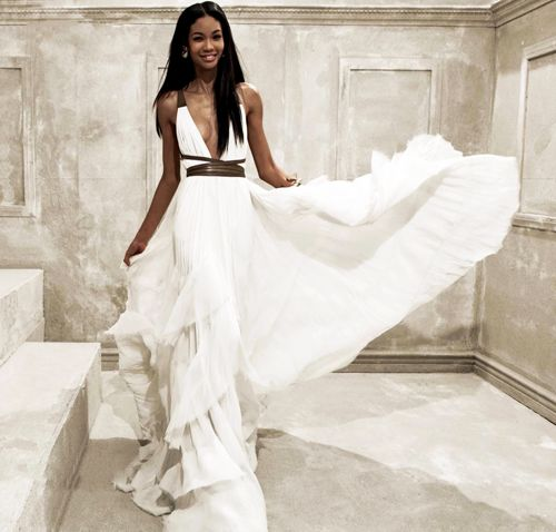 : Wedding Dressses, White Wedding, Natural Beautiful, Flowy Gowns, Beaches Ceremony, Chanel Iman, Leather Belts, Beaches Wedding, White Gowns