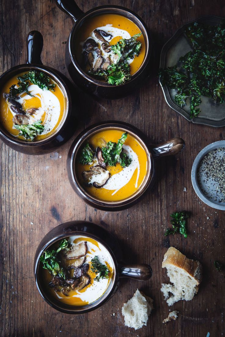 sweet potato soup with  shiitake & kale chips