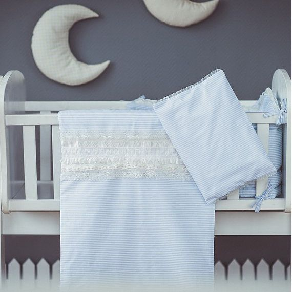 Duvet and pillow covers Blue White Cradle bedding by CotandCot