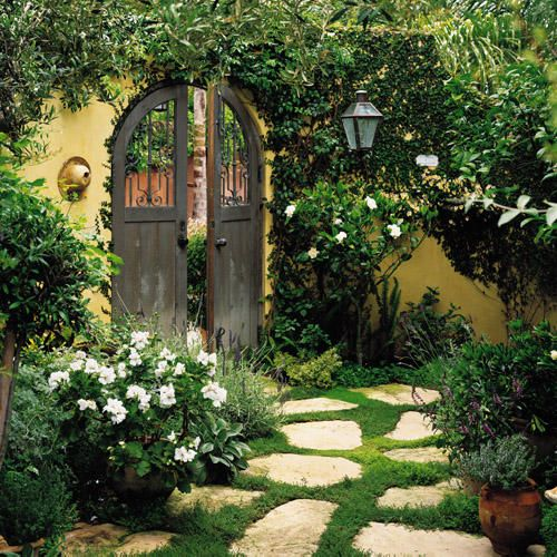 Mediterranean, creeping thyme; arched gate; portal; stepping stone garden path