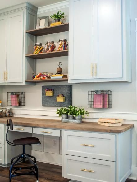 The built-in cabinets provide plenty of space for storing and organizing tools and craft supplies in the craft room, as seen on Fixer Upper.