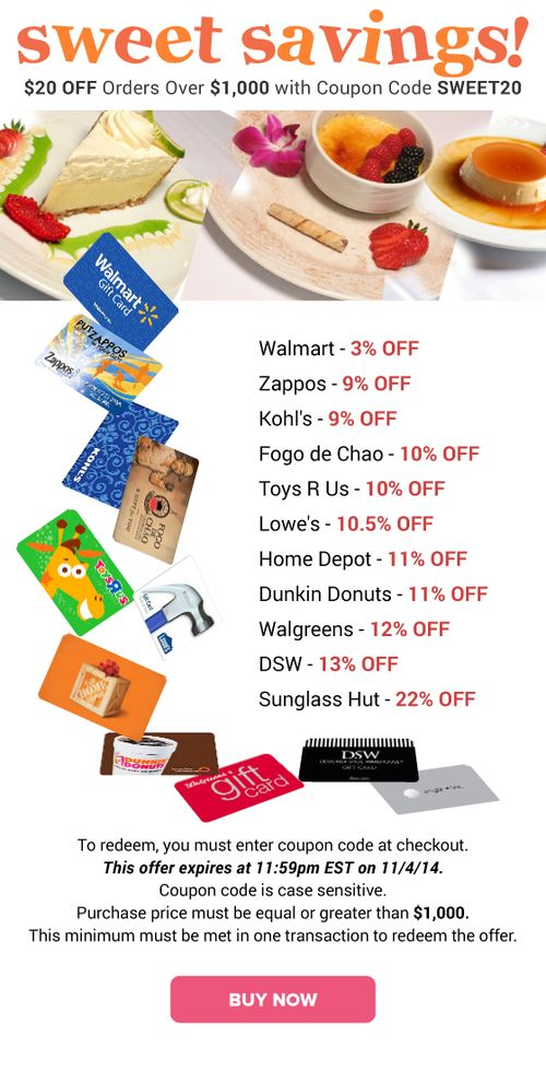 Sweet Savings: Walmart 3% OFF, Kohl's 9% OFF, Home Depot 11% OFF & More discount gift card,  #gift cards for less