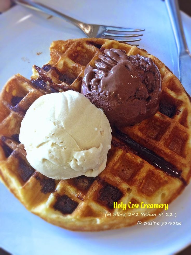 Cuisine Paradise | Singapore Food Blog | Recipes, Reviews And Travel: [New Cafes in Yishun & Sembawang] Holy Cow Creamery, Mootime, RoyceMary Cafe and The Daily Scoop - Waffle Classic + addition Scoop Premium Ice-Cream @ SG$10.00 from Holy Cow Creamery