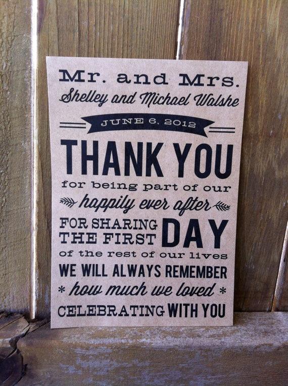 Wedding Thank You Card. $29.00, via Etsy.