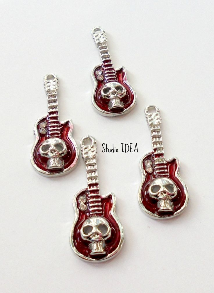 Set of 2 Red -Silver Tone Metallic Quitar  with Skull Charm 30mmx10mm - Set of 2 pcs - pinned by pin4etsy.com