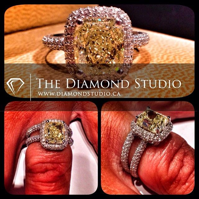 My client Nadia came by the studio to pick up her custom yellow diamond ring. Talk about a WOW piece! #diamonds #weddings #engagementring #ring #rings #yellow #jewellery #jewelry #thediamondstudio