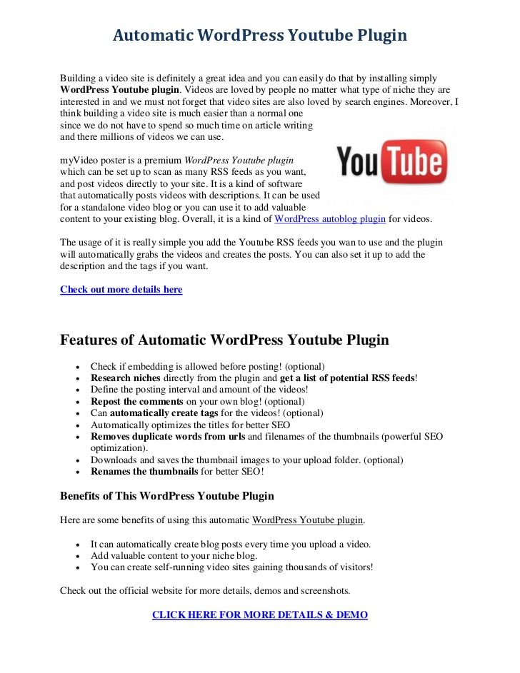 Automatic WordPress Youtube PluginBuilding a video site is definitely a great idea and you can easily do that by installin...