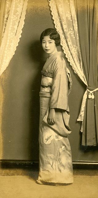 Kimono Standing - Vintage Photo