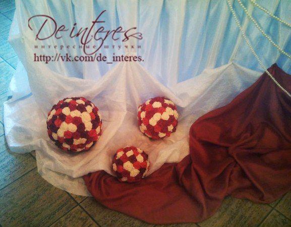 Свадебные аксессуары.Свадебная атрибутика (аксессуары) - шары (помпоны). #марсала#бордо#красный#алый#кремовый#свадьба#декор#шары_помпоны#праздник#розы