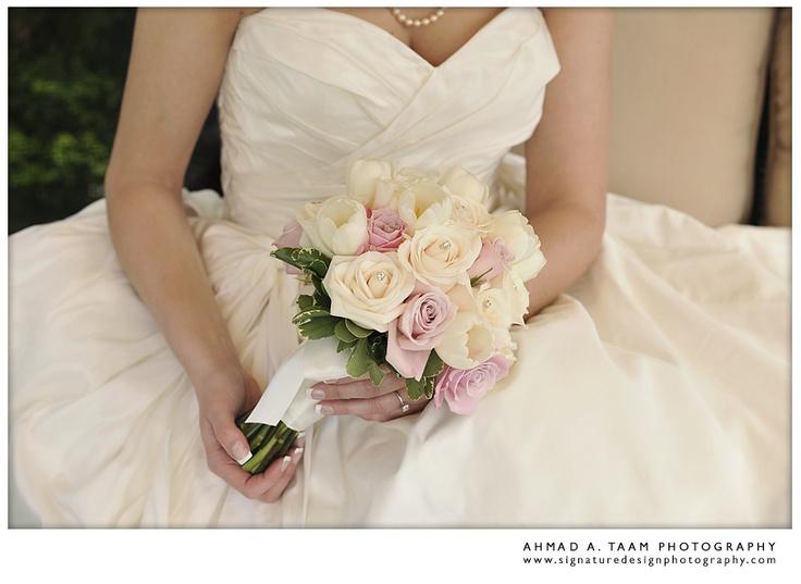 { White wedding flower bouquet }