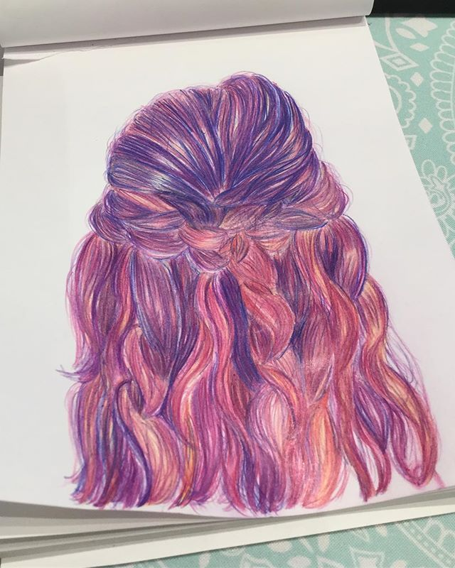 Ive watched this tutorial on how to draw hair by @emmykalia and it was such a great intricate practice for today!! I love it