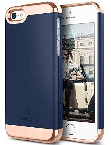 iPhone SE Case iPhone 5S Case iPhone 5 Case Caseology [Savoy Series] Slim Two-Piece Slider [Navy Blue] [Chrome Rose Gold] for Apple iPhone 5/5S/SE
