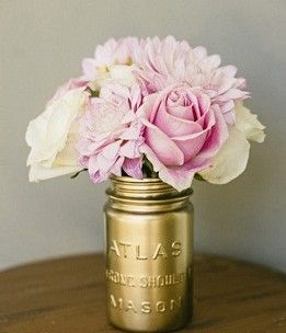 Pink and Gold. Love my mason jars. I use them for everything. Now a vase too.