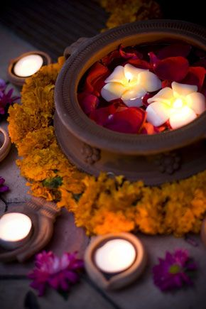 candles, flowers, indian decor