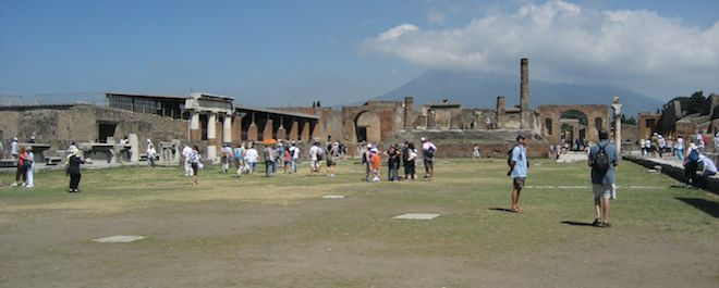 The ruins of Pompeii: The ancient Roman city of Pompeii, located near Naples, Italy, was destroyed by the volcanic eruption of Mount Vesuvius in 79 A.D.