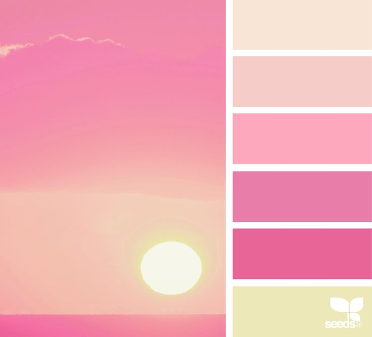 Setting Hues | Design Seeds - pink and blush color palette with a yellow-green - pretty for spring and summer