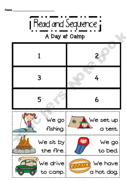 Read And Sequence Camping Product From Sarah Paul On TeachersNotebook