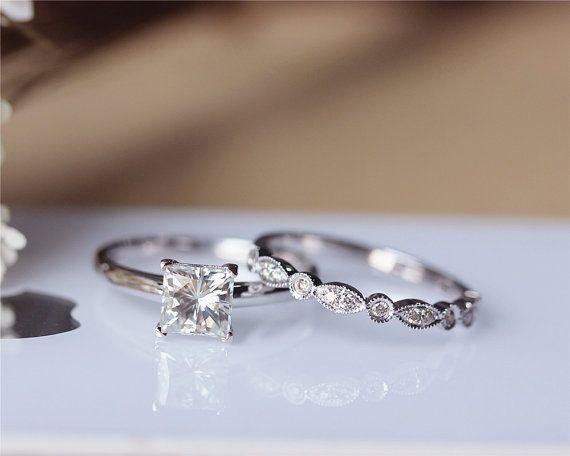 Princess Cut Brilliant Moissanite Engagement Ring Set Solid 14K White Gold Wedding Ring Moissanite Ring Set Bridal Ring Set Anniversary Ring