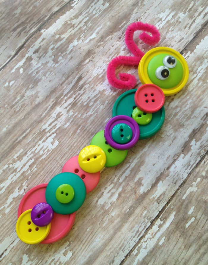 Button Caterpillar Crafy Completed Easy & Fun for Kids