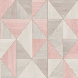 Apex Wood Grain Geometric Wallpaper - Rose Gold and Grey - Fine Decor FD42224 This beautiful Apex Wood Grain Geometric Wallpaper features a contemporary geometric style design of abstract wooden triangles in complimentary blush pink and grey tones with a matte finish and a metallic rose gold outline. Easy to apply, this high quality wallpaper would look great when used for a feature wall or equally good when used to decorate a whole room.  A stunning geometric design wallpaper Features…