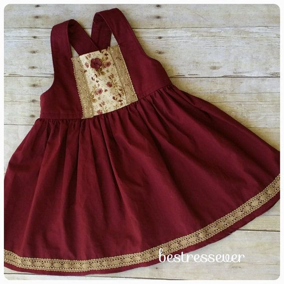 Baby girls holiday Dress - Toddler Christmas Dress - Maroon color - boho dress - vintage dress - lace - belle sleeves - Family photos