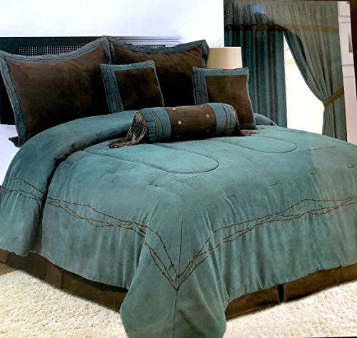 Luxury Western Texas Star Comforter Bedspread 7pc Set Turquoise
